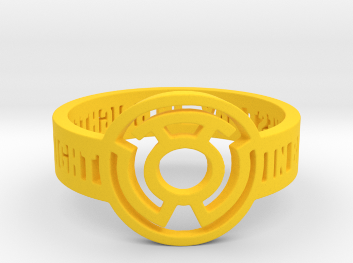 Yellow Lantern Oath Ring 3d printed
