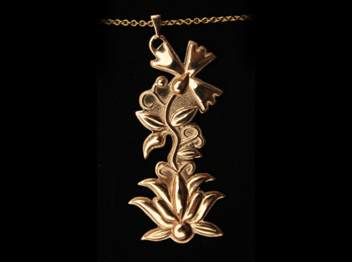 Kashubian Pendant 3d printed polished bronze with necklace