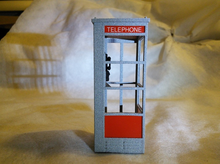 Telephone Booth, 1/32 Scale 3d printed Metallic plastic appears speckled and glittery when viewed close up.