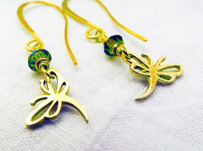 Buzzing Dragonfly™ Earrings 3d printed