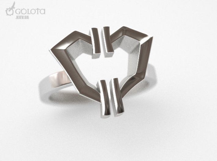 High Voltage Ring (divorced heart) 3d printed divorced heart ring