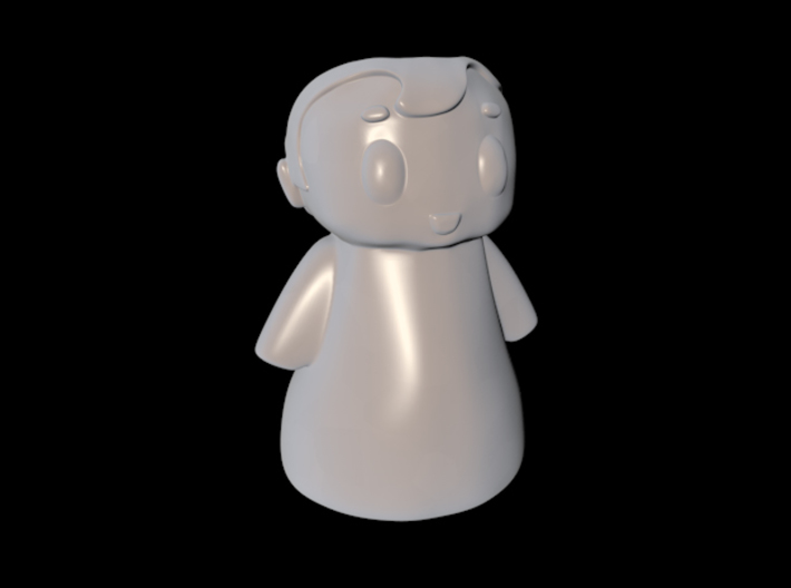Topknot 3d printed 3D render in white
