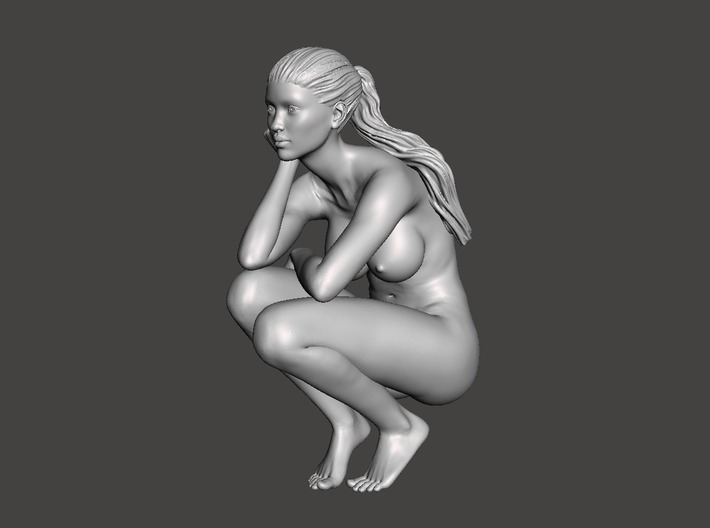 Long ponytail girl 066 1/35 3d printed