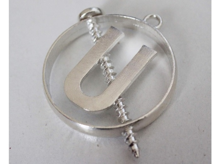 Ghostbusters - Holtzmann Screw U Necklace 3d printed This is the Raw Silver