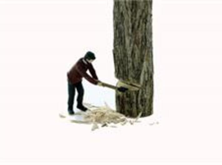 S Logging Feller #2 chopping a tree Figure 3d printed He's In Action Chopping down the tree