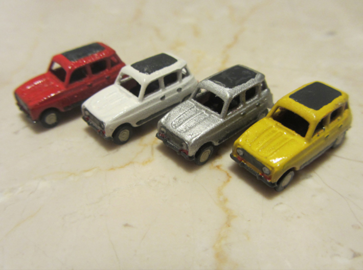 Renault 4 Hatchback 1:160 scale (Lot of 6 cars) 3d printed Lot of 6 cars, Paint not included
