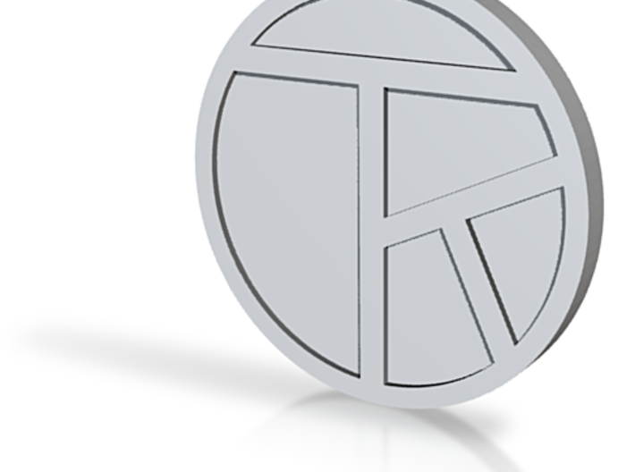 Chop with artist's initials, coin .75in 3d printed