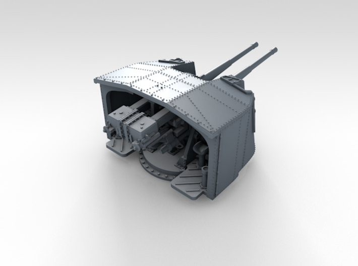 """1/350 4.7"""" MKXII CPXIX Twin Mount x4 3d printed 3d render showing product detail"""