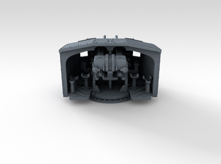 """1/350 4.7"""" MKXII CPXIX Twin Mount x3 3d printed 3d render showing product detail"""