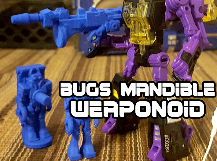 Bugs Mandible Transforming Weaponoid Kit (5mm) 3d printed blue strong and flexible print, shown with other figures