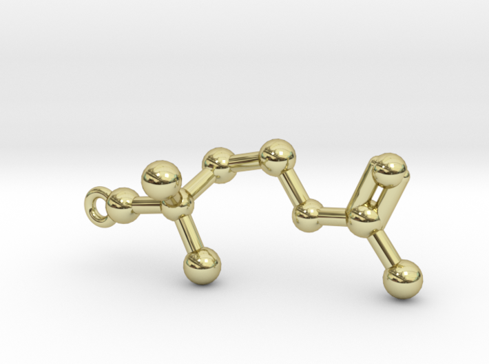 Acetylcholine Molecule Necklace 3d printed Acetylcholine Molecule Pendant Keychain in 18k Gold Plated