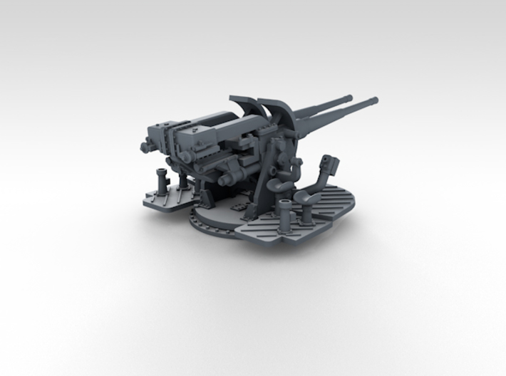 "1/500 4.7"" MKXII CPXIX Twin Mount x4 3d printed 3d render showing gun mount detail"
