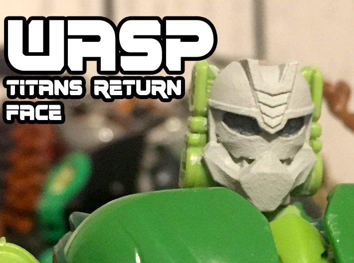 Wasp Face (Titans Return) 3d printed Black Acrylate print on customized Waspinator body.