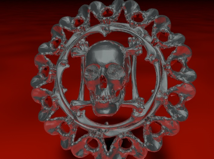 pendant skull and pelvis 3d printed