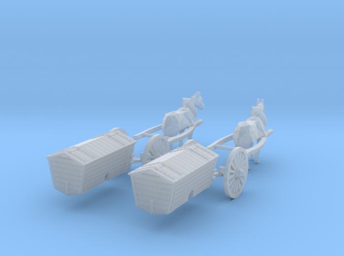 SET 2x Pferd mit Harritschwagen (N 1:160) 3d printed