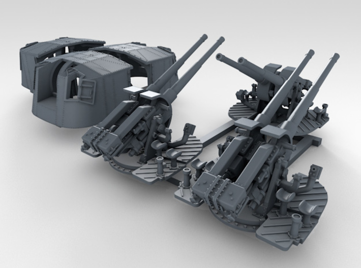"1/350 4.7"" MKXII CPXIX Twin Mount x3 25º 3d printed 3d render showing set"