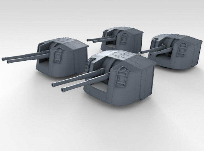 """1/350 4.7"""" MKXII CPXIX Twin Mount x4 Sights Closed 3d printed 3d render assembled showing set"""