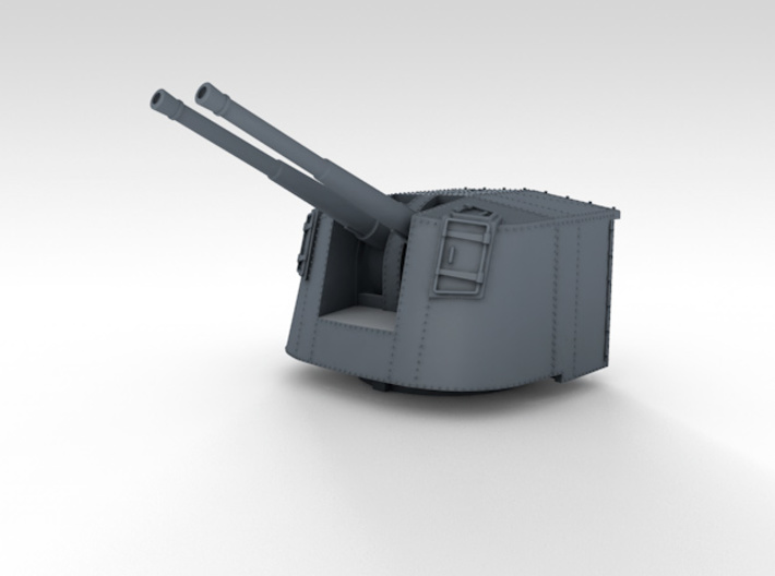 "1/350 4.7"" MKXII CPXIX Mount x3 25º Ports Closed 3d printed 3d render showing product detail"