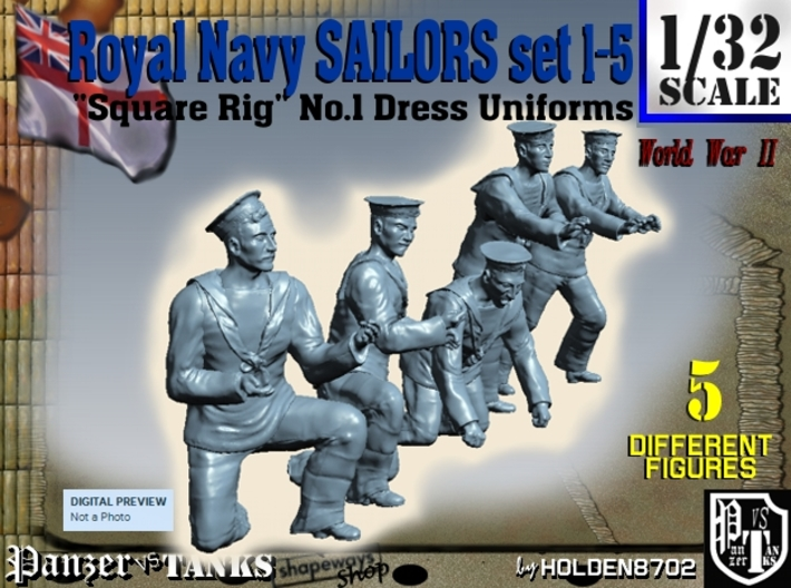 1-32 Royal Navy Sailors Set1-5 3d printed