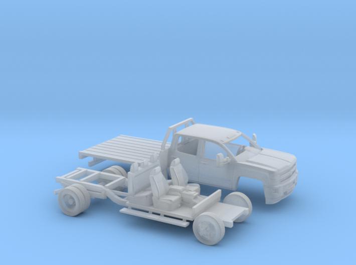 1/87 2015 Chevrolet Silverado Dually Flatbed Kit 3d printed