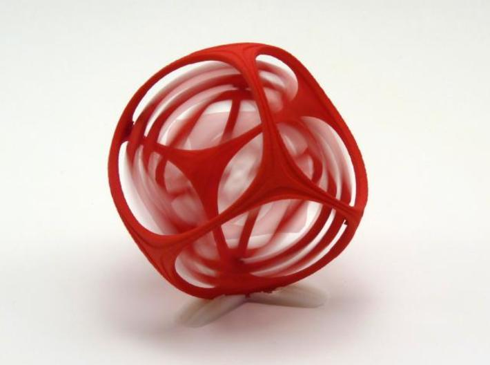 Gyro the Cube (Multiple sizes, from $11.50) 3d printed M in Red. In Motion