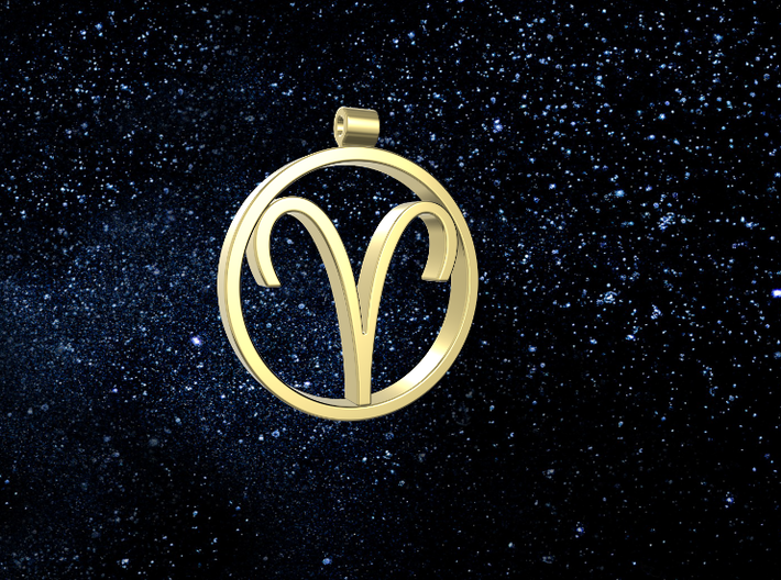 Aries Zodiac Sign Pendant 3d printed