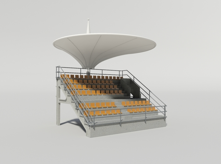 Grandstand uncovered, ideal for slot car track 3d printed Example with roof