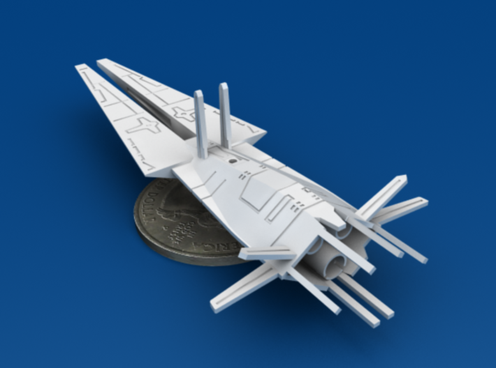 2x Galactic Scout Ships, New Albion 3d printed Size Comparison to U.S. Quarter, Bottom 3/4