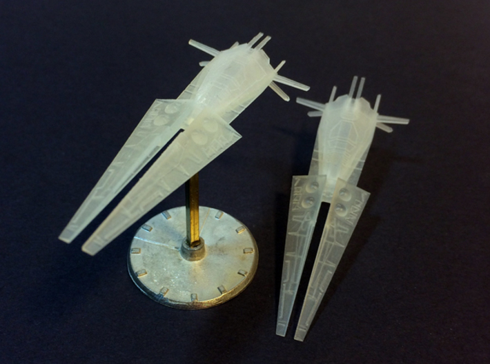 2x Galactic Scout Ships, New Albion 3d printed Actual printed piece (Frosted Ultra Detail)