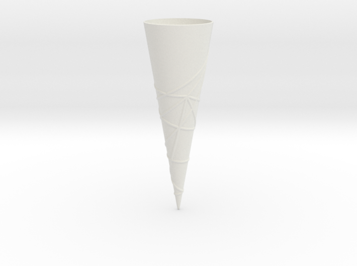 Geodesics between points on a 60 degree cone. 3d printed