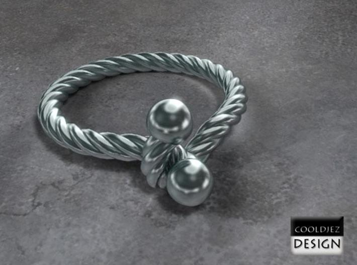 Ring - Twist with Balls 3d printed Render