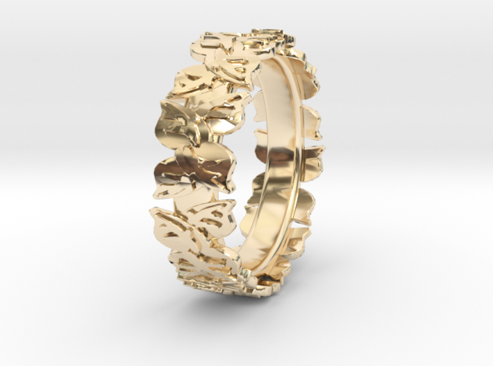 Leaf Ring 3d printed 14kGold Plate