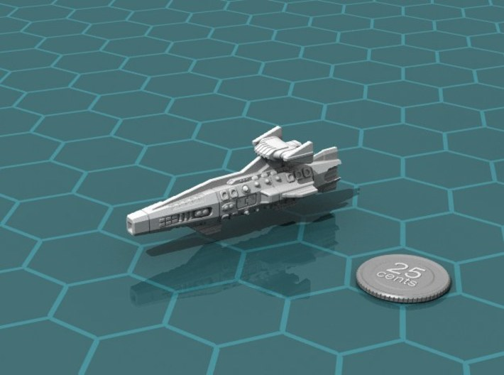 Ikennek Heavy Cruiser 3d printed Render of the model, with a virtual quarter for scale.