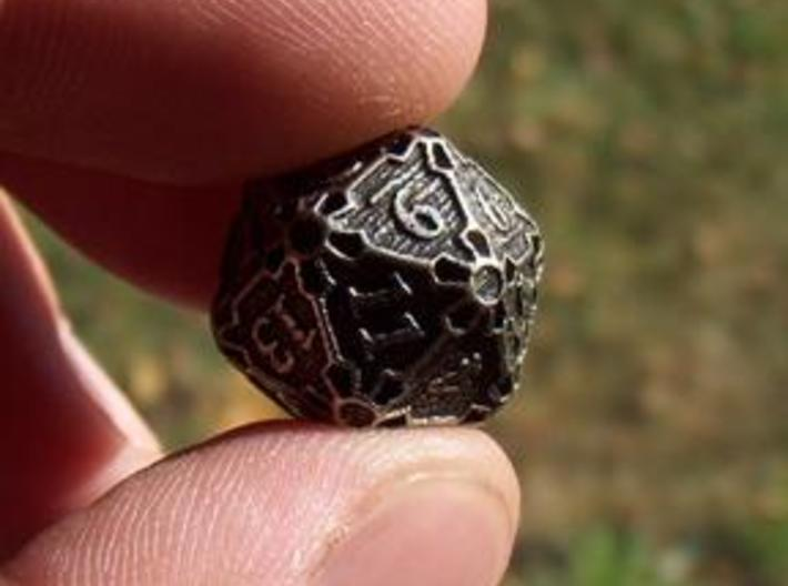 Premier d20 3d printed In Stainless Steel and inked.