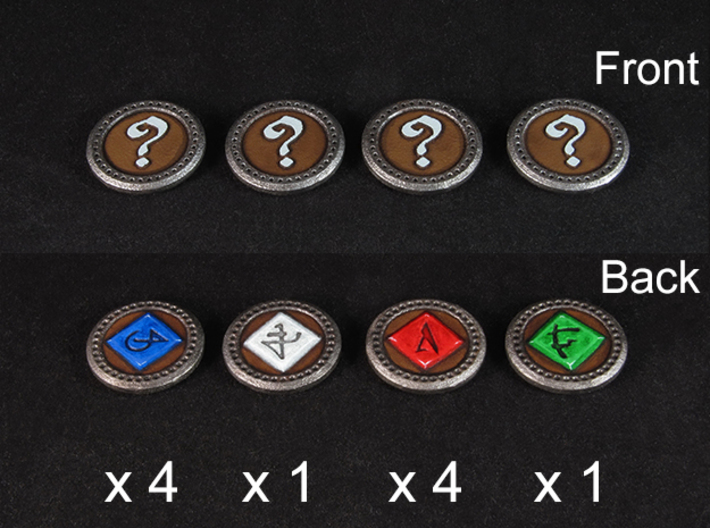 Descent Objective tokens - basegame (10 pcs) 3d printed White Strong Flexible, painted.