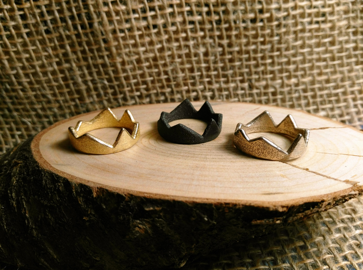 Fraction (Size 8) 3d printed stainless gold plated + stainless matte black + stainless