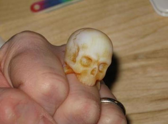 Skull Ring (size 7) 3d printed White detail tea dyed. picture by:TommySaysSoWhat