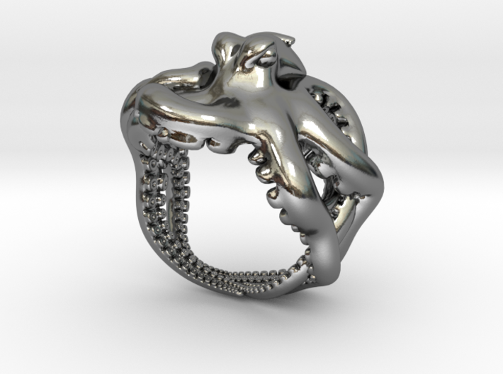Octopus Ring2 17mm 3d printed