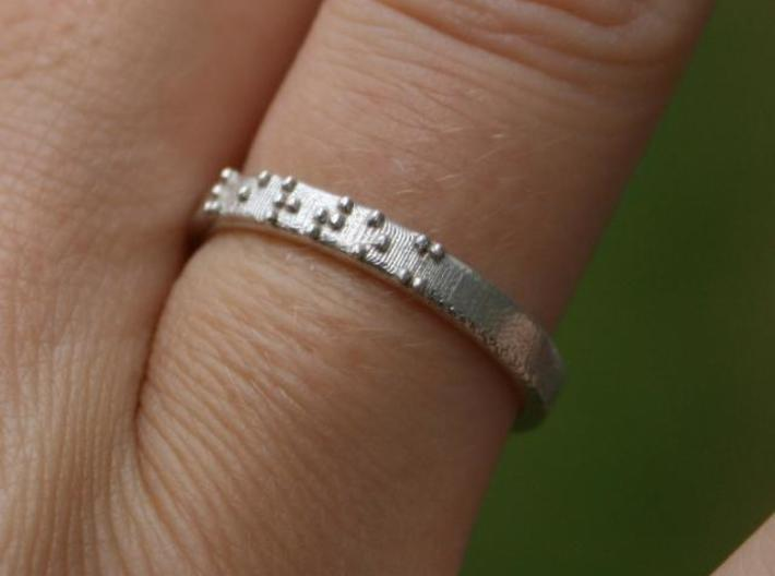 Braille ring 3mm 3d printed The braille ring, printed in Sterling Silver