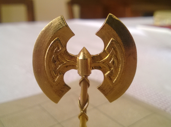 Role Playing Counter: Greataxe 3d printed Detail (Raw Brass)