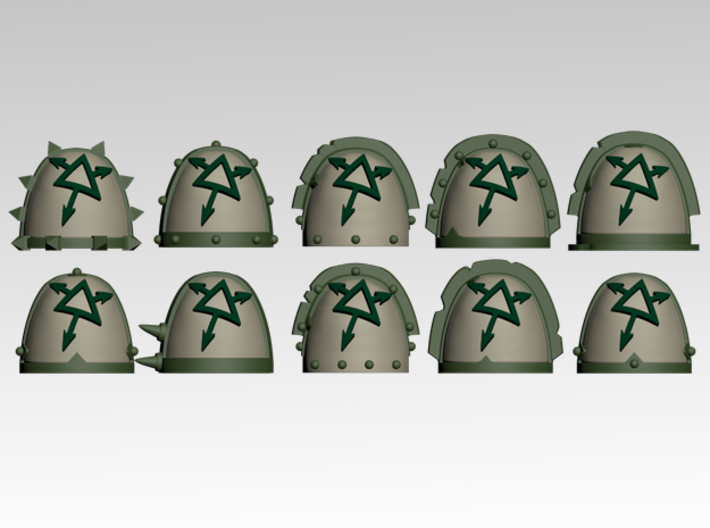 Tainted Spiked Shoulder Pads x10 3d printed Product is sold unpainted.