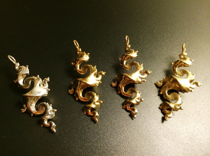 Dragon Pendant 4cm 3d printed Premium Silver, Gold Plated Brass, Polished Bronze, Raw Brass