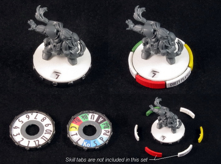 """Click"" Miniature Bases (12-16 pcs) 3d printed White Strong Flexible, painted. Miniature and skill tabs not included :)."