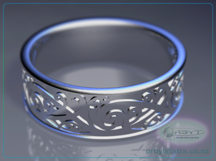 Maori Kowhaiwhai Design Ring - US Size 10 (19.9mm) 3d printed Raytraced DOF render simulating polished silver material