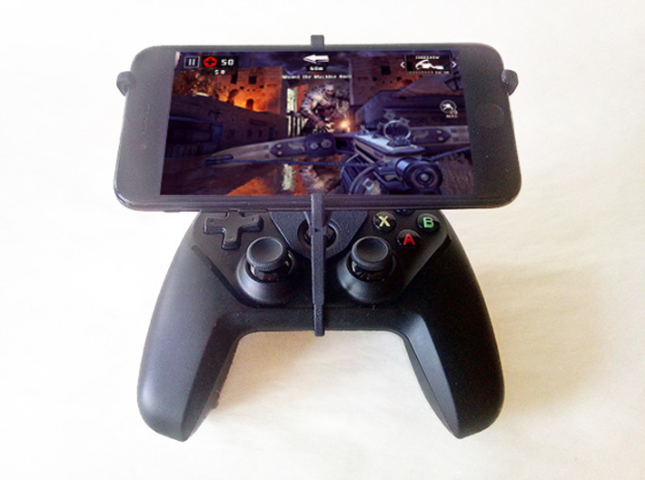 Steelseries Nimbus & Apple iPad mini Wi-Fi + Cellu 3d printed Nimbus with iPhone 7 - Over the top - Front view