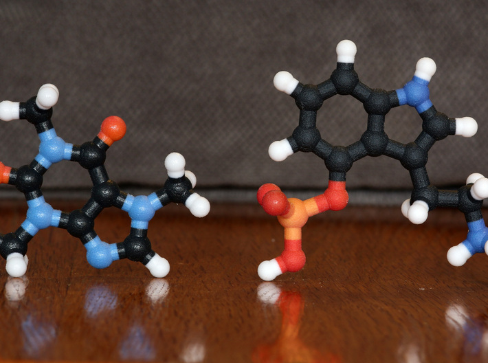 Psilocybin Molecule Model, 3 Size Options 3d printed Coated (left) and non-Coated (right) Full Color Sandstone. Coating gives a much smoother feel.