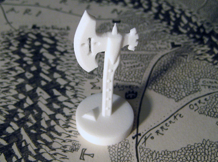 Role Playing Counter: Waraxe 3d printed Waraxe in Strong & Flexible Plastic (Polished White)