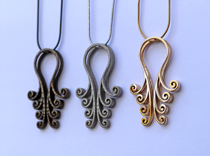 Octopus Meanders - Pendant 3d printed Polished Bronze Steel, Polished Nickel Steel, Polished Bronze