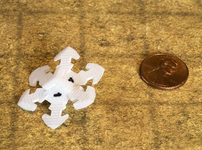 Snowflake D6 3d printed Hand-inked.  Numbers are enlarged on current version for better legibility.