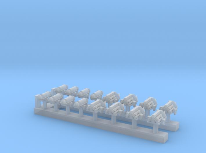 1:200 Scale USN Aircraft Nitrogen & Oxygen Carts 3d printed